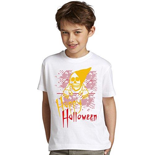 iges Kostüm Sprüche-Fun-T-Shirt - Outfit Verkleidung für Kinder Jungen Teenager Super Geschenk-Idee Farbe: weiss Gr: 134/146 (Happy Halloween-gruseliges Gesicht)