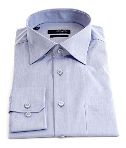 Seidensticker Herren Langarm Hemd UNO Regular Fit Kent blau 139530.16 Blau