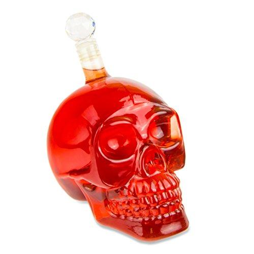 ml) für die Hausbar, Party, Halloween, Geschenk im Totenkopfdesign, Vodka, Whiskey- Flasche, Kristall- Schädel, Totenkopf, Wein- Dekanter, Schnapsglas, Farbe: Transparent (Halloween-1000)