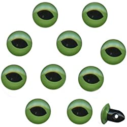 Rayher Hobby 8902700 Plastik-Katzenaugen, 10 mm Durchmesser zum Aufnähen, SB-Beutel 10 Stück, grün/schwarz