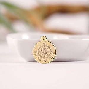 GEMEINSAM.Namenskette, personalisierte Kette mit Gravur, Gravurkette, Kompasskette, vergoldet