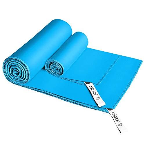 Mikrofaser Sport und Reise Handtuch 80 x 130 cm in verschiedenen Farben Gr/ün Violett Orange Blau Rot Schwarz mit integriertem Packriemen Blau, 130 x 80 cm