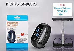 MOM'S GADGETS M3 Intelligence Bluetooth Health Wrist Smart Band Compatible for All Androids and iOS Phone/Tablet (Black)