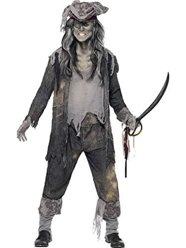 Halloweenia - Herren Männer Gespenster Geister Horror Zombie Piraten Freibeuter Kostüm, Frack Hose und Hut, perfekt für Halloween Karneval und Fasching, L, Grau (Zombie Piraten Kostüm Männer)