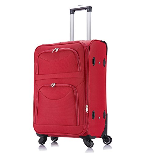 WOLTU RK4214bl-L-a Reise Koffer Trolley mit 4 Rollen , Weichgepäck Reisegepäck , Reisekoffer Stoff 1200D Oxford Weichschale , Handgepäck leicht & günstig , Blau (L, 67 cm & 70 Liter) Rot