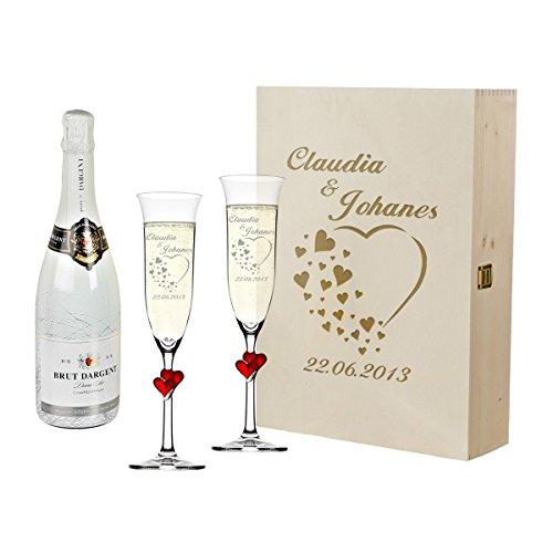 polar-effekt 2 rote Sektgläser mit Sekt-Flasche im Geschenkbox - Personalisiert mit Gravur - Hochzeit Geschenkidee Sektglas-Set - Motiv Herzen