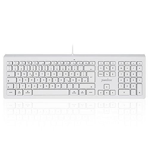 Perixx PERIBOARD-323 Tastatur kompatibel für Mac OS X und iOS - Weiß Beleuchtet - Deutsches QWERTZ Layout - Apple Wired Keyboard