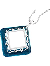 Aapno Rajasthan Mid Blue Agate Ring Silver Pendant
