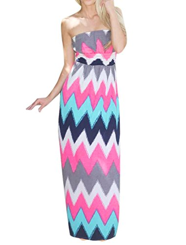 sourcingmap® Mesdames Zigzags Hematite couleur contraste Maxi robe taille Empire pink