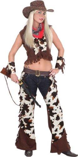 Cowgirl-Kostüm: Damen-Chaps mit Weste, Lederimitat, Kuhfell-Optik, Erwachsenen-Größe:40/42