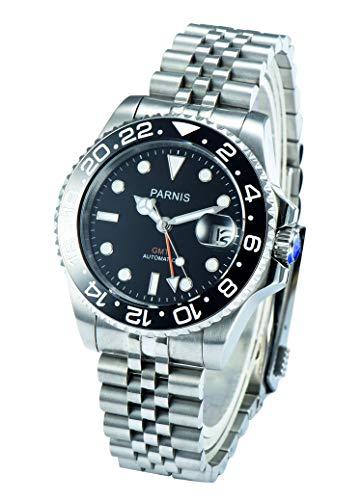 PARNIS 2034 Brand Jub/ORA Automatik-Armbanduhr Ø40mm GMT-Uhr für Herren mit Saphirglas Edelstahl-Armband zweite Zeitzone Herren-Automatik-Uhr