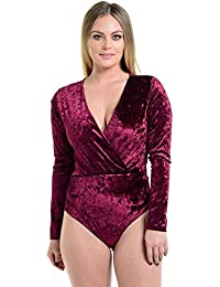 Top Fashion18 Ladies Womens Long Sleeve Velvet V Neck Wrap Over Leotard  Bodysuit Thong Velour Top 035941bfc