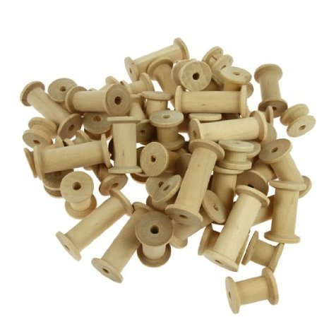 Creation Station  Assorted Sizes Wooden Spools ,  Natural , Pack of 60 Test