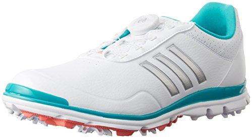 adidas W Adistar Lite Boa Schuhe Golf, Damen, Damen, W Adistar Lite Boa, Weiß/Silberfarben/Blau, 37.3