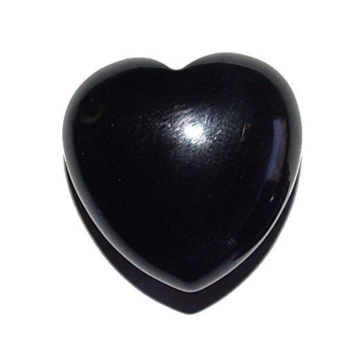 Onyx schwarz Herz klein schöne bauchige Form ca. 25x25x13 mm als Handschmeichler