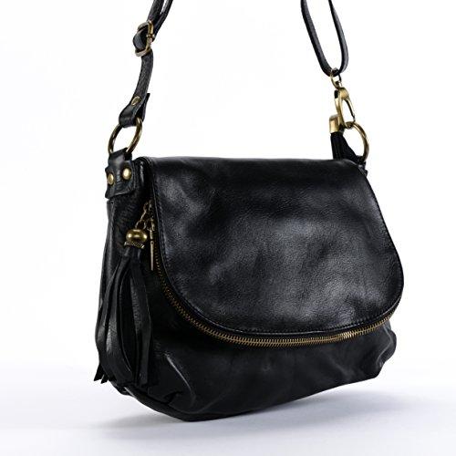 Oh My Bag Borsa a mano Pelle morbida Donna–Borsa Tracolla–Modello 72ore (piccolo) NUOVA COLLEZIONE–promozione Nero