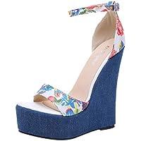 Sandalias Mujer Verano 2018 Casual �� Sandalias Estampadas de Tacones Altos para Mujer Zapatos de cuña Solos Sandalias de Hebilla de cinturón de Las señoras Salvajes