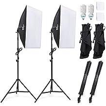 Amzdeal Softbox Kit  Iluminacion Fotografia con 2 Ventana de Luz 135W , 2 Softbox 50x70cm, 2 Tripodes ,1 Bolso Portátil Fotografía de Estudio Fotográfico, Luz Continua