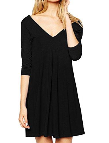 sourcingmap® femmes col V profond manches 3/4 Robe tunique décontracté sans doublure Black
