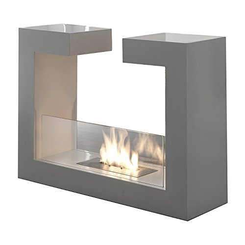 HOMCOM Bioethanol Fireplace Made of Stainless Steel with 1 1.5LT Tank 78 x 25 x 58 White