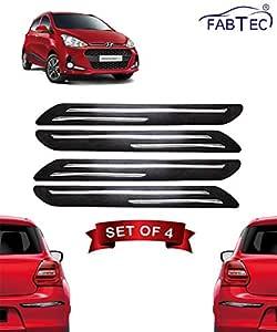 Fabtec Bumper Protector Guard Double Chrome Strip for Hyundai Grand i10 (Set of 4) Black (Double Chrome Strip)