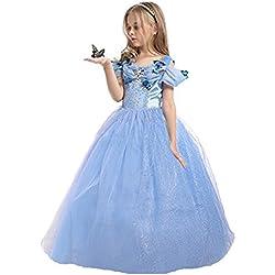 ELSA & ANNA® Princesa Disfraz Traje Parte Las Niñas Vestido (Girls Princess Fancy Dress) ES-FBA-CNDR5 (8-9 Años, ES-CNDR5)