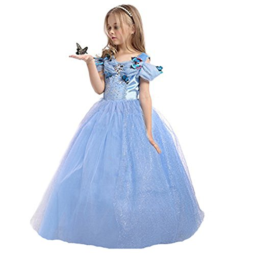ELSA & ANNA® Mädchen Prinzessin Kleid Verrücktes Kleid Partei Kostüm Outfit DE-FBA-CNDR5 (6-7 Jahre - Size Code 40, Blau)