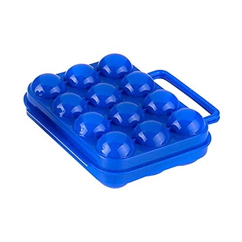 Depory 1pcs Bandejas de Huevos de Soporte para Huevos de plástico 12 Cajas de Almacenamiento de Huevos de Rejillas de Cocina 20cm x 20.5cm x7cm Azul y Naranja (Azul)