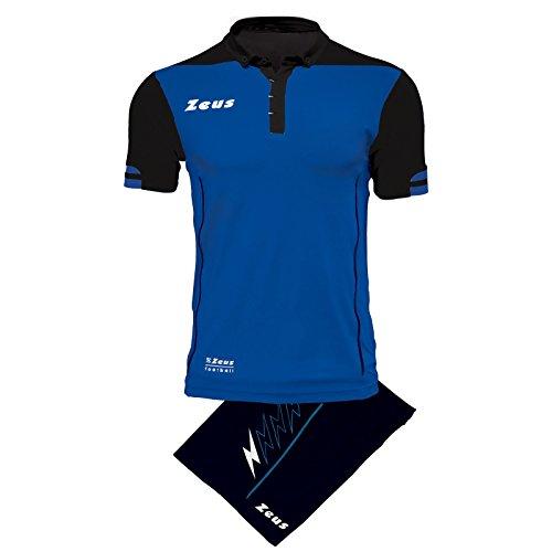 Zeus Kit Aquarius Herren Trikot Shirt Hosen Klein Armel Kit Fußball Hallenfußball (XL, BERNSTEIN-SCHWARZ) XS ROYAL - NERO