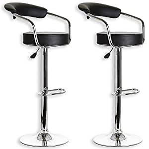 Lot de 2 tabourets de bar solana simili cuir noir amazon - Amazon tabouret de bar ...