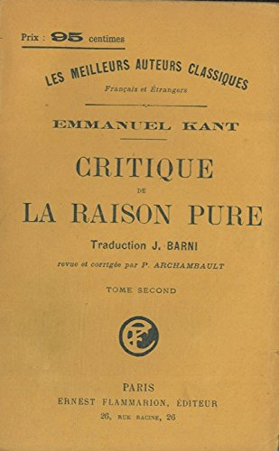 Critique de la raison pure.