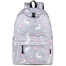 Mochila Impermeable Moda Bolsas de Viaje Lindas Impresión de Unicornio Mochila