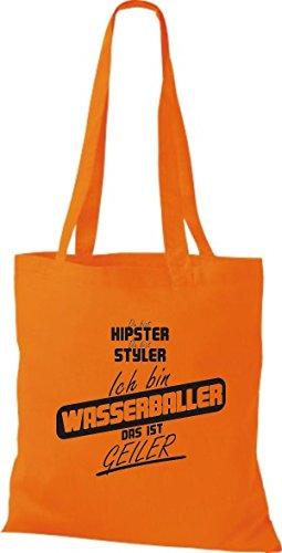 Borsa Di Stoffa Shirtstown Sei Hipster Sei Styler Io Sono Pallanuoto Questo È Hornier Arancione