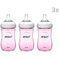 """PHILIPS AVENT """"NATURAL"""" Nr. SCF964/17 - 3x Bottle Silicone Plastic 260ml, 9 oz, (1m+)/ PINK"""
