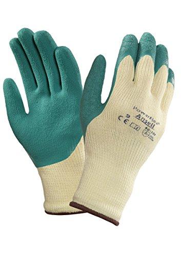 Ansell PowerFlex 80-100 Gants pour usages multiples, protection mécanique, Vert, Taille 7 (Sachet de 12 paires)
