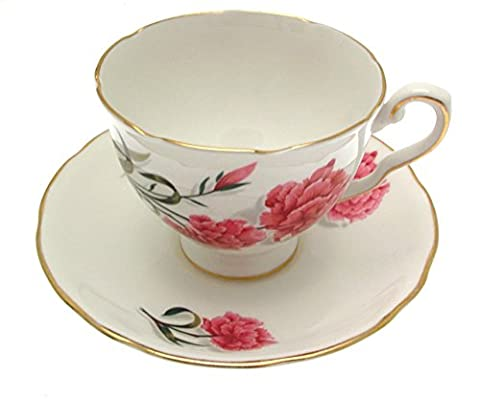 Royal Stafford footed teacup & saucer Peony by Peony