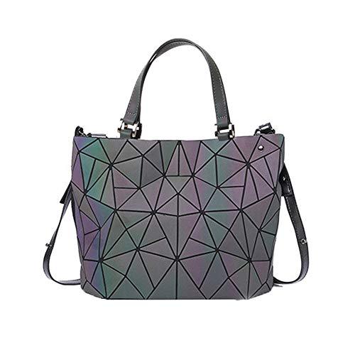 Geometrische leuchtende PU-Leder-einzigartige Geldbeutel und Handtaschen Scherbe-Gitter-umweltfreundlicher lederner Regenbogen-holografischer Geldbeutel für Frauen-große Taschen-Tasche (Colorful-2)