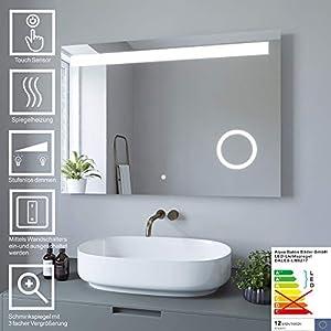 AQUABATOS Badspiegel Schminkspiegel LED Beleuchtung Dimmbar Wandspiegel Badezimmerspiegel mit Touchschalter (100 x 70 cm, kaltweißen)