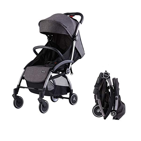 Ydq Foldable Baby Pushchair,Lightweight Baby Pram Pushchair Buggy Travel Stroller Plume Ydq TRAVEL ANYWHERE - Airplane travel stroller designed for airplane overhead compartment. It's super compact when folded. With extendable pull rod, it could be dragged anywhere you go with no effort instead of lifting it with your hand. COMFORTABLE SEAT - Lightweight pushchair with reclining backrest enables your baby to rest better in the well-padded seat. The pads on the headrest will help keep your baby's head in position even if it's asleep. The angle of legs support could also be adjusted, providing the most joyful ride for your baby. EASY USAGE - One-hand foldable buggy makes taking your baby for travels or walks a simple pleasure. It could stand on its own so you could take care of your baby with less things to worry about. 1