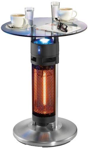 UNOLD Heiztisch Bistro, 1.200 W, Wetterfester Heizstrahler, Glasplatte, Karbon-Infrarot-Heizelement, LED-Beleuchtung, Kippschutz, IP24, 86745 (Infrarot-heizung Elektrische Terrasse)