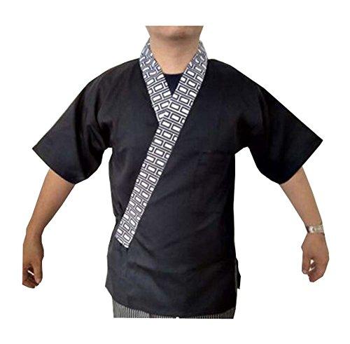 Black Temptation Restaurant Uniform - Japanische Sushi Koch Mantel Uniformen für Männer und Frauen - A2 (Sushi Koch Kostüm)