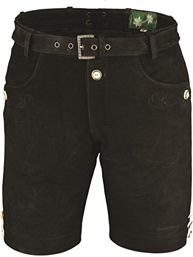 Lederhose mit Gürtel, echt Leder Nubuk Trachten Lederhose Herren kurz, Damen Trachtenlederhose Schwarz mit Gürtel (54, Schwarz)