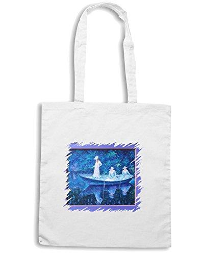 T-Shirtshock - Borsa Shopping TDA0027 monet135 barca a giverny Bianco