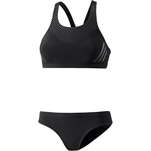adidas Damen Regular Training Pool Placed Print Bikini, Black/Carbon/Night Metallic, 42 (Pool Damen)