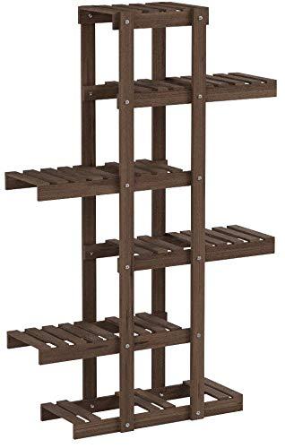 Relaxdays Scaffale porta-fiori 5 ripiani legno fioriera verticale a scala da interno HLP: 125 x 81 x 25 cm marrone scuro