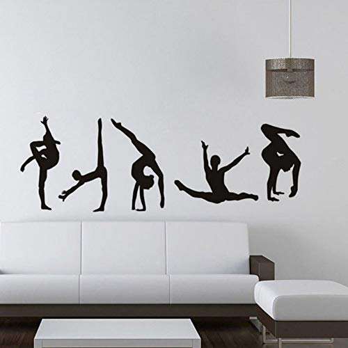 Xbwy Klassische 5 Gymnastik Muster Moderne Wandaufkleber Sport Center Wohnzimmer Pvc Vinyl Wandtattoo Dekoration Zubehör 58X20 Cm -
