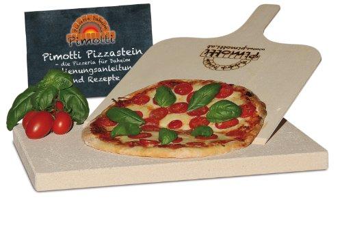 Pimotti 202_001 Schamott Pizzastein / Brotbackstein, 2,5cm mit Schaufel und Rezepten