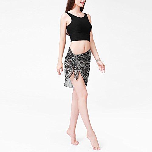 iBaste 2017 neue Damen Sexy modern Stoffdruck Strandrock Strandkleider bikinihosen Cover Up Schwarz