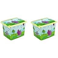 2x Caja para juguetes juguete caja Fashion de caja Hippo 20L