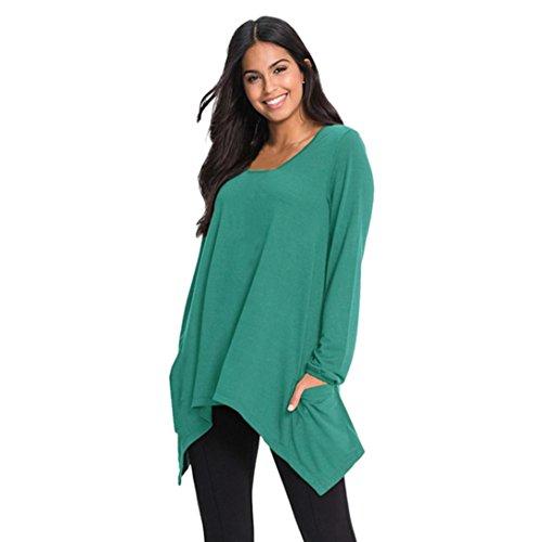 Yogogo Femmes O Neck Tops Manche Longue Poche IrréGulier Tops Blouse T-Shirt Vert